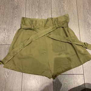 Green Khaki High-Waisted Front-Tie Shorts